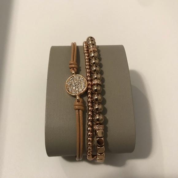 Fossil set of 2 bracelets rose gold